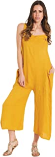 Ladies Lightweight Loose Fit Linen Dungarees - Mustard One Size Wide Leg Overall