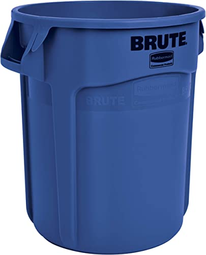Rubbermaid Commercial Products 1779699 BRUTE Heavy-Duty Round Trash/Garbage Can, 10-Gallon, Blue