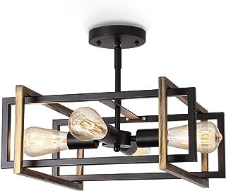 ENCOFT Plafonnier Industriel 4 Lumières E27, Éclairage de Plafond en Métal Creative Rétro, Lustres Luminaire Interieur pou...