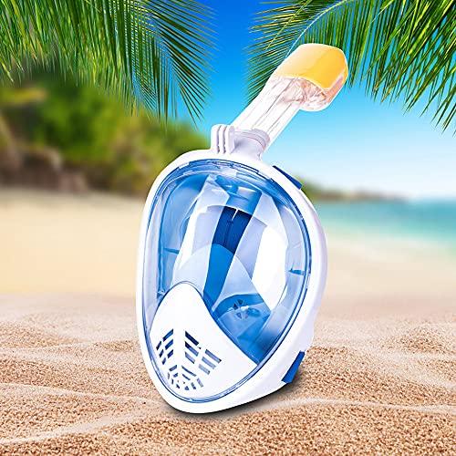 Máscara De Snorkel De Cara Completa, Máscara De Snorkeling Vista Panorámica De 180 °, Anti-Fugas Y Anti-Niebla para Adulto por El Último Sistema Avanzado De Respiración De Seguridad