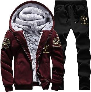 DaySeventh Men`s 2020 Deals! Jacket with Pants Hoodie Warm Zipper Fleece Outwear Coat Sets
