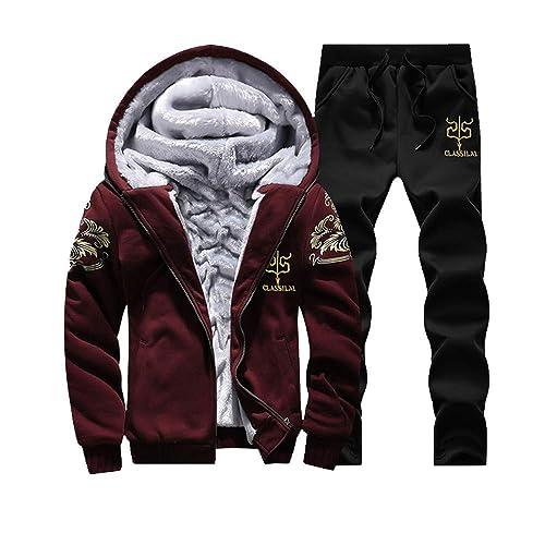0938997d6 Men s Winter Fleece Lined Hoodies Sweat Suit Camo Thicken Tracksuit Set  Coat + Pants Sport Set