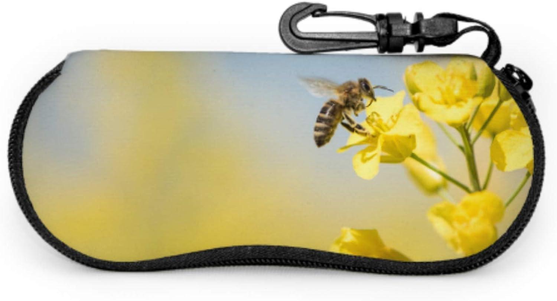 Honey Bee Pollinate Yellow Flower Sunglasses Case Women Multi Eyeglass Case Light Portable Neoprene Zipper Soft Case Zip Sunglass Case