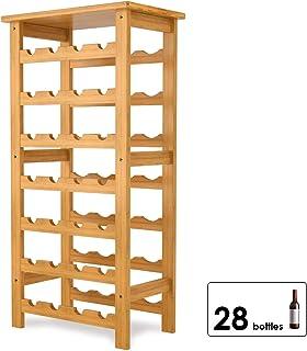 Homfa Casier à Vin Étagère à Bouteille Rangement 28 Bouteille en Bambou 47x29x94cm