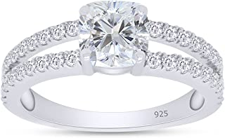 SAVEARTH Diamonds 925 Sterling Silver Center 1.1cttw 6X6MM G-H-I Color Cushion Cut Moissanite Lab Created Diamond خواتم خط...