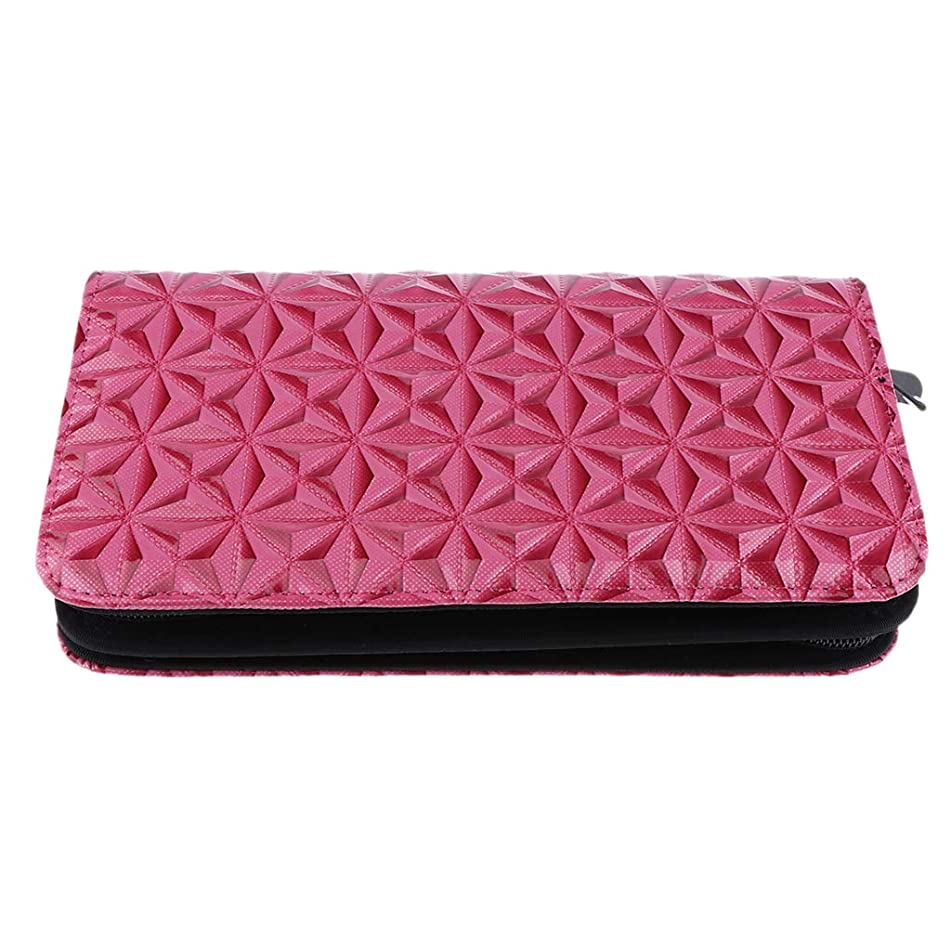 Flameer PU Leather Barber Salon Cases for Hair Scissors Hairdressing Accessories Shears Handbag Holder Styling Tools Storage Case - Pink