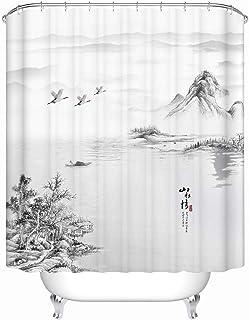 La Tinta Tradicional China Y Pintura De Lavado Paisaje Pinturas Cortina De La Ducha Negro Y Blanco Concepción Artística con Ganchos 200 * 200cm