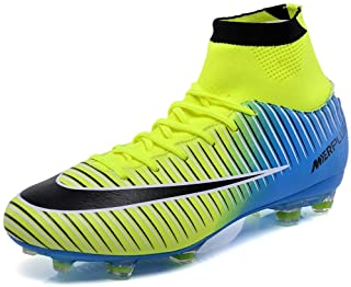 BOLOG Football Boots Men's High Top Spikes Soccer Training Shoes Kids Soccer Boots Cleats Profession Athletics Teenager Ou...