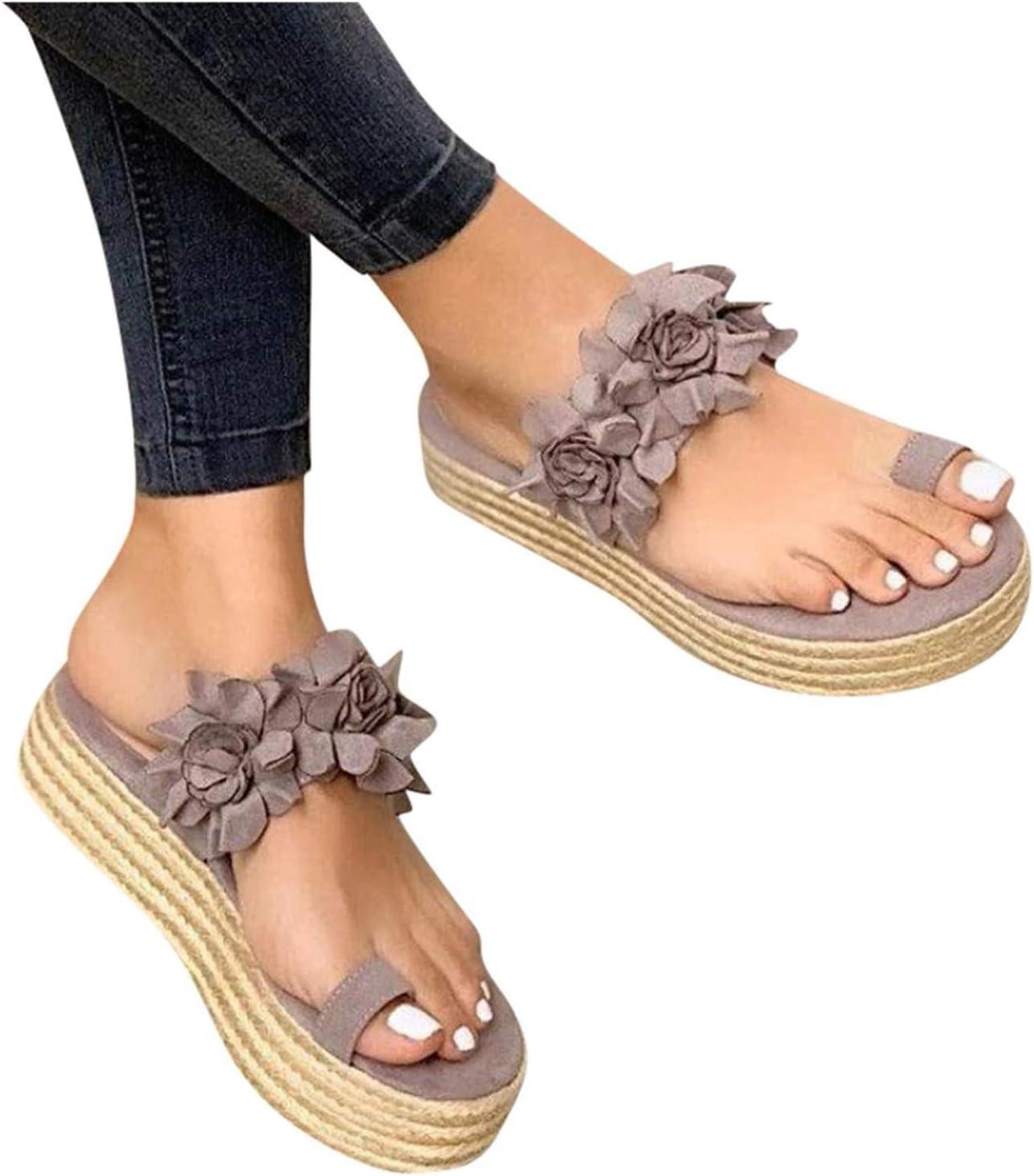 Fukasse Women's Slides Flower Sandals for Women Casual Summer Toe Ring Espadrille Platform Wedge Dress Slip On Sandals Boho Dress Slipper for Vacation Wedding Party