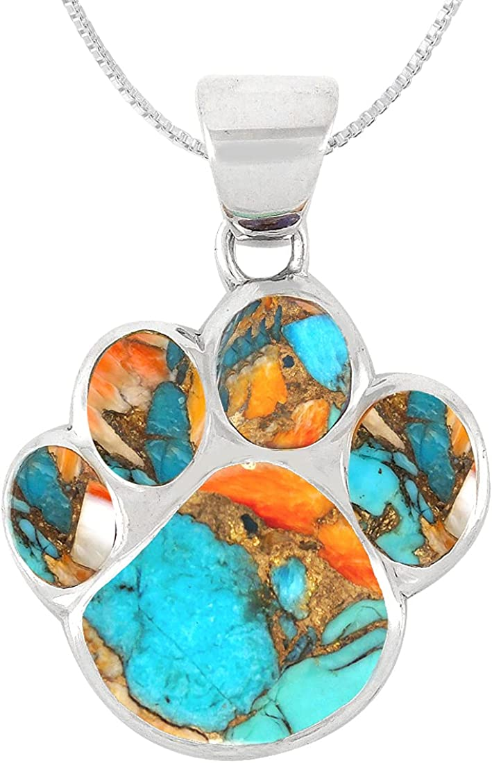 Popular popular Dog Paw Necklace Pendant 925 Genuine Gemstones Topics on TV Silver Sterling