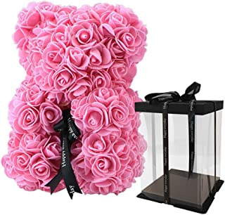 SW The Rose Bear with Bow and Box,Rose Teddy Bear Made of Soft Synthetic Roses a Great Anniversary,Christmas,Valentines,White Valentine's Day, 10