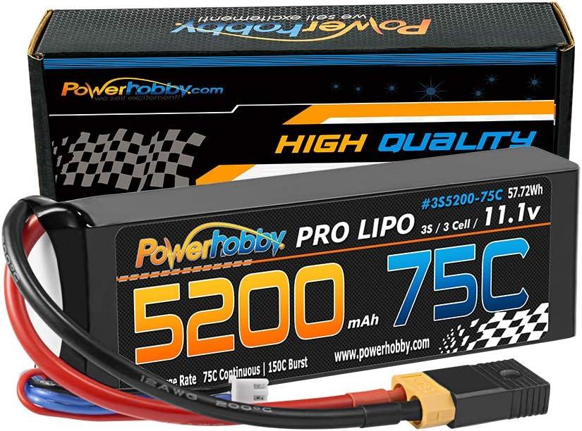 PowerHobby 3S 11.1V 5200mAh 75C Lipo Adapt W Battery 上質 + Plug XT60 バーゲンセール