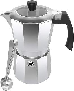 Espresso Maker av Cafe Du Chateau (6 kupa) transparent topplock, högglansfinish, gratis kaffesked - kaffeperkolator