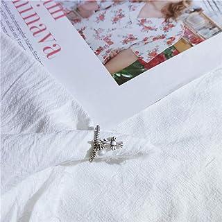 LYWZX Anello Regolabile Donna,Anelli Aperti di Perle in Argento Sterling 925 di Moda per Gioielli da Donna per Ragazze