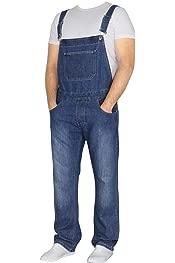 Fansu Dungarees Vintage Work Bib Jeans Jumpsuits with Knee Pads Pockets Coveralls Pants Big Waist Plus Size Men Denim Overalls Trousers