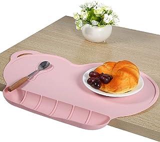 BETOY Set de Table Enfant en Silicone étanche Portables, Antidérapants, Faciles à Nettoyer et Réutilisables (Rose)