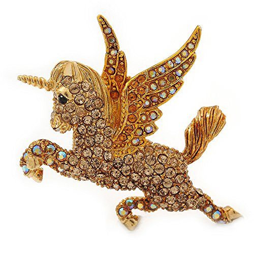 Avalaya One Blank Cristal austríaco 'Unicorn' Broche con Forma de Tono de Oro nostálgico con Texto en alemán (AB, Naranja, luz Colores topacio) - 50 mm Longitud