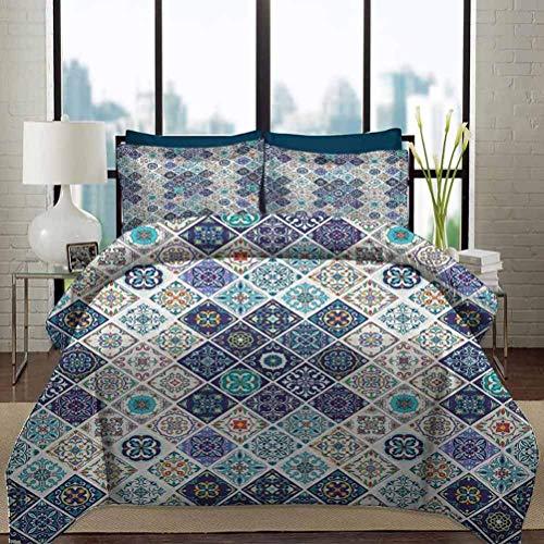 Ropa de cama Juego de funda nórdica Respetuoso del medio ambiente Sin arrugas Portugués Histórico Mezclado Azulejo Mosaico Azulejos con motivos de cerámica marroquí Juego de cama decorativo de 3 pieza