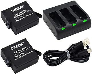 ENEGON Batería (Paquete de 2) con Cargador de 3 Canales para GoPro Hero (2018)/Hero 8 Black/Gopro Hero 7 Black/Hero 5/6 Black (Compatible con Firmware v02.60 v02.51 v02.00 v01.57 v01.55 v01.50)