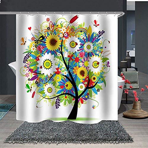 Topmail 3D Duschvorhang aus Polyester mit 12 Duschvorhangringe für Badezimmer wasserabweisend und Anti-Schimmel waschbare badvorhang (Bunter Baum, 180 x180 cm)
