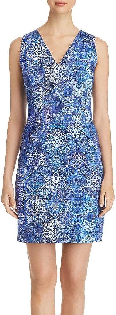 ELIE TAHARI Women's Emory Tile Print V-neck Sheath Dress