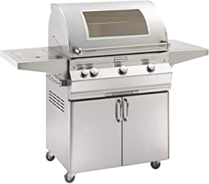 Fire Magic Aurora Series 30-Inch Grill on Cart with Single Side Burner (A660s-5EAN-62-W), Analog Thermometer, Magic View Window, Natural Gas
