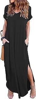 Women's Short Sleeve V Neck Pocket Casual Side Split Beach Long Maxi Dress
