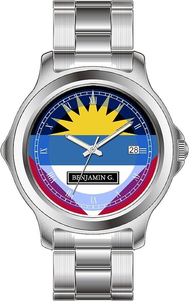 FDC–Navidad Regalo Relojes Fashion Fecha Acero Inoxidable Reloj de Pulsera de Cuarzo japonés de la Mujer Antigua y Barbuda Bandera Personalizada Nombre Reloj de Pulsera