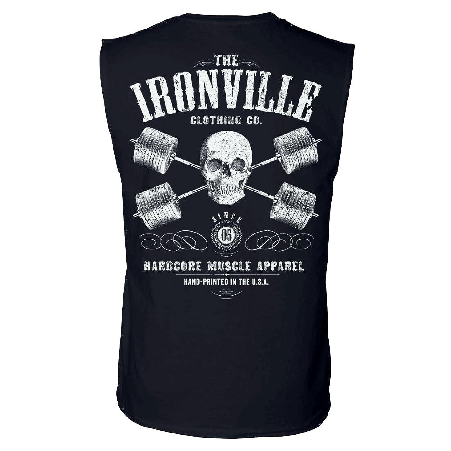 Ironville Heavy Iron Outlaw Skull Barbells Sleeveless Powerlifting Shirt