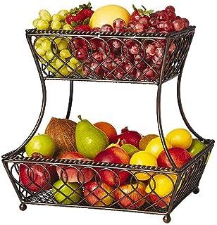 Xiaoli Corbeille à Fruits décoration Fer Fruit Basket Salon Cuisine Banana Crochet 2 Niveau carré en métal Fruit Basket St...
