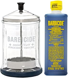 King Research Barbicide Disinfecting Jar Midsize 21oz + Disinfectant 16oz