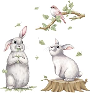 Rabbit Wall Stickers, Cute Two Rabbits Wall Decals with Bird, Wall Art Decor for Nursery Toddler Baby Kids Bedroom Playroom Living Room