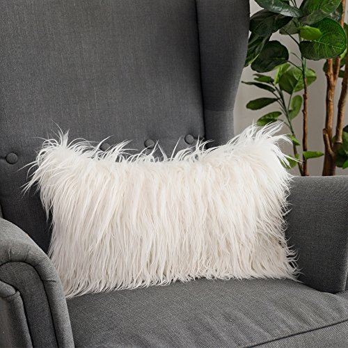 LANANAS Luxury Soft Plush Faux Fur Throw Pillow Covers for Couch Decorative Mongolian Fur Throw Pillow Covers (12''X20'', Off-White)
