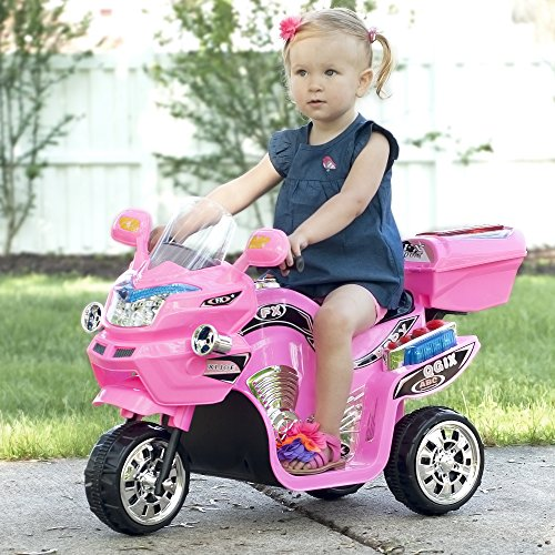 Lil' Rider Electric Motorcycle for Kids – 3-Wheel Battery Powered Motorbike for Kids Ages 3 -6 – Fun Decals- Reverse- and Headlights (Pink)