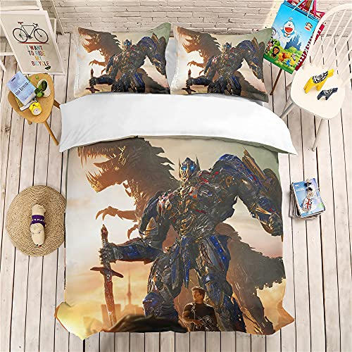 CCBZLY Juego de ropa de cama Transformers 3D con diseño de Transformers, funda nórdica 100% suave y agradable (estilo 03,220 x 260 cm y 80 x 80 cm)