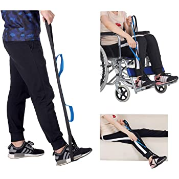 "Leg Lifter Strap Rigid Foot Lifter & Hand Grip - Elderly, Handicap, Disability, Pediatrics 37"" Mobility Aids for Wheelchair, Bed, Car, Couch, Hip & Knee Replacement"