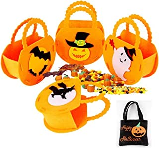 VCGREE 4 PCS Halloween Trick or Treat Candy Bag Tote Bag Baskets, 1 PCS Black Costume Party Decoration Gift Canvas HandBags Ghost Pumpkin Goodie Bag for Kids Boys Girls