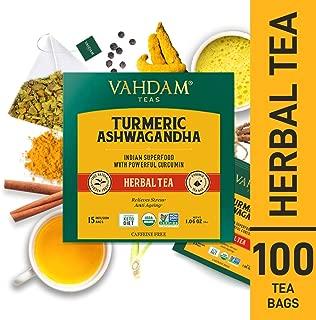 VAHDAM, Turmeric + Ashwagandha SUPERFOOD Herbal Tea, 100 Count | India's Ancient Blend of Turmeric & Garden Fresh Spices | Turmeric Tea Bags | Herbal Tea Bags | Detox Tea | Herbal Tea 100 Count