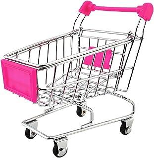 Homyl Mini Shopping Cart Trolley Toy Fuchsia