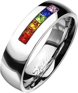 Paula & Fritz, anello in acciaio inox chirurgico 316L, con fila di ziconia, di colore arcobaleno, con 8 mm di larghezz...