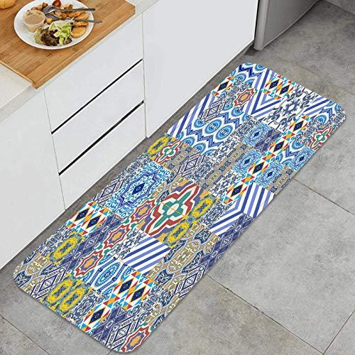 Alfombra de Cocina Antideslizante,Mega magnífico patrón de Mosaico sin Costuras Colorido,Estera de Cocina Felpudos Decorativo Alfombra para Dormitorio Baño Pasillo 45 x 120cm