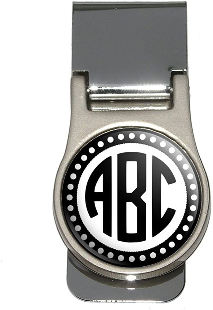 Graphics and More Personalized Custom Money Clip - Monogram Circle Font Scalloped Outline