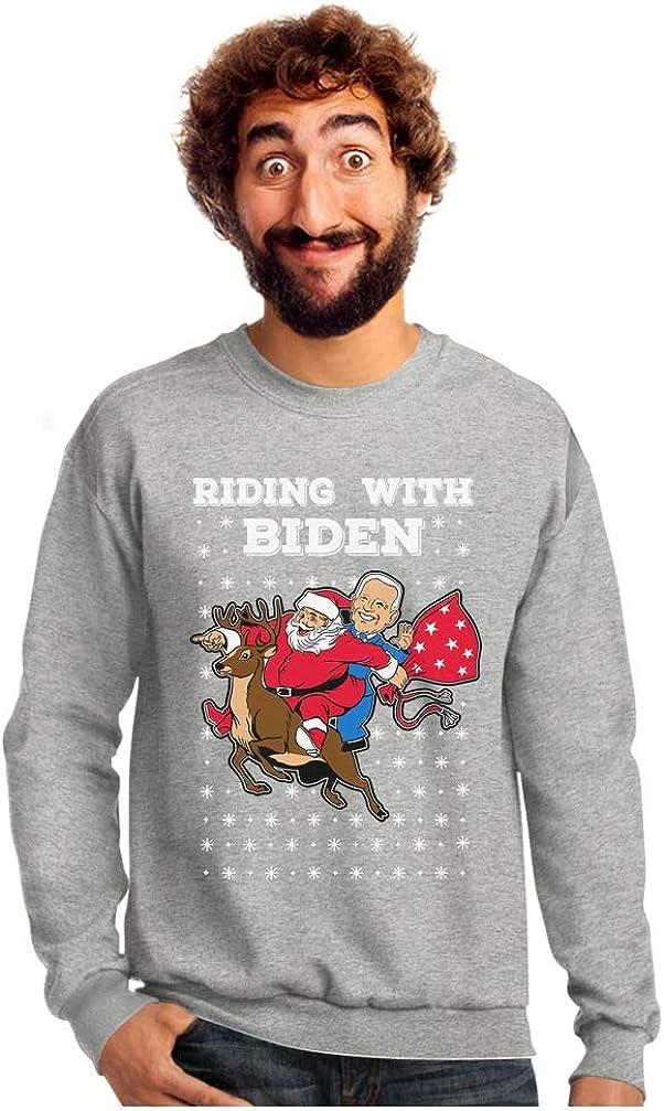 Riding with Biden Ugly Christmas Sweater Funny Santa Joe Biden Xmas Sweatshirt