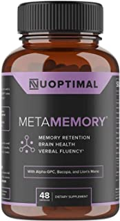 metaMEMORY by Nuoptimal - Premium Nootropic Brain Booster Supplement for Memory Support & Brain Health - 8 Cognitive Enhan...