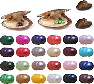 Pearls Oyster, 10PCS Triplets Pearls Freshwater Cultured Pearl Oysters with Round Pearl Inside Random Color (6.5-7.5mm) Jewelry Making or Birthday Gifts