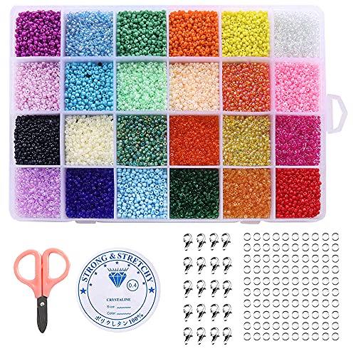 Juego de 24000 cuentas de 24 colores para hacer joyas, pulseras, collares, pendientes, anillos, hacer manualidades, joyería con tijeras pequeñas, cierre de langosta (2 mm)