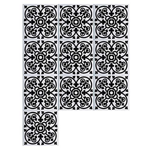 JRTILES Stickerfliesen 15X15Cm X 10 Stück - Fliesenaufkleber Fliesenfolie - Fliesen-Sticker Folie Aufkleber Selbstklebende - Fliesenbilder Für Badezimmer Küche Deko - Blaue Und Weiße Serie