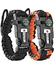 Paracord Survival-armband - Verstelbare polsmaat - Kompas - Vuursteenstarter - Mes - Luide fluit - Sterk reddingskoord - Buiten - Kamperen - Wandelen - Vissen - Jagen - Noodpakket
