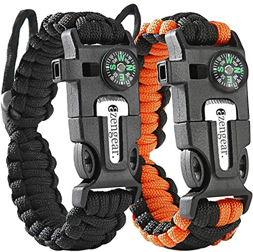 Paracord Survival Bracelet (Pair) - Flint Fire Starter - Whistle - Compass - Mini Saw - Strong Rescue Rope - Adjustable Band Size - Camping - Bushcraft - Emergency Kit (Black & Orange)