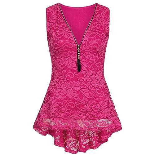 915ddb6b138311 TUDUZ Women Vest Tops Ladies Summer Floral Lace Zip Up Tank Top Sleeveless  Slim Pure Camisole